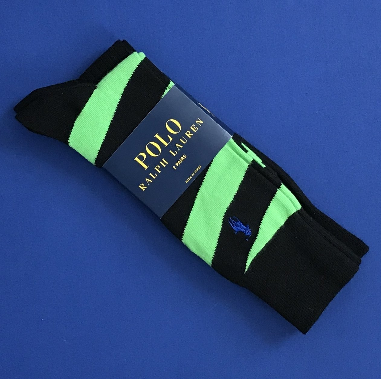 NWT Polo Ralph Lauren Cotton Blend Knit Socks Two-Pack (Black & Black/Lime)