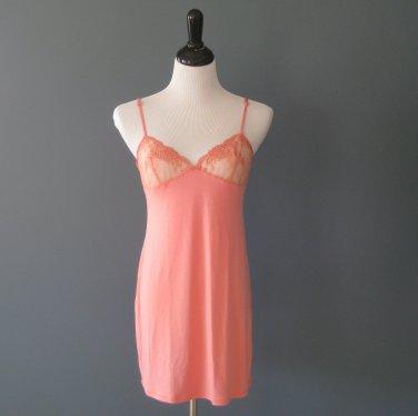 NWT La Perla Primula Modal & Lace Coral Babydoll Chemise Nightgown - L