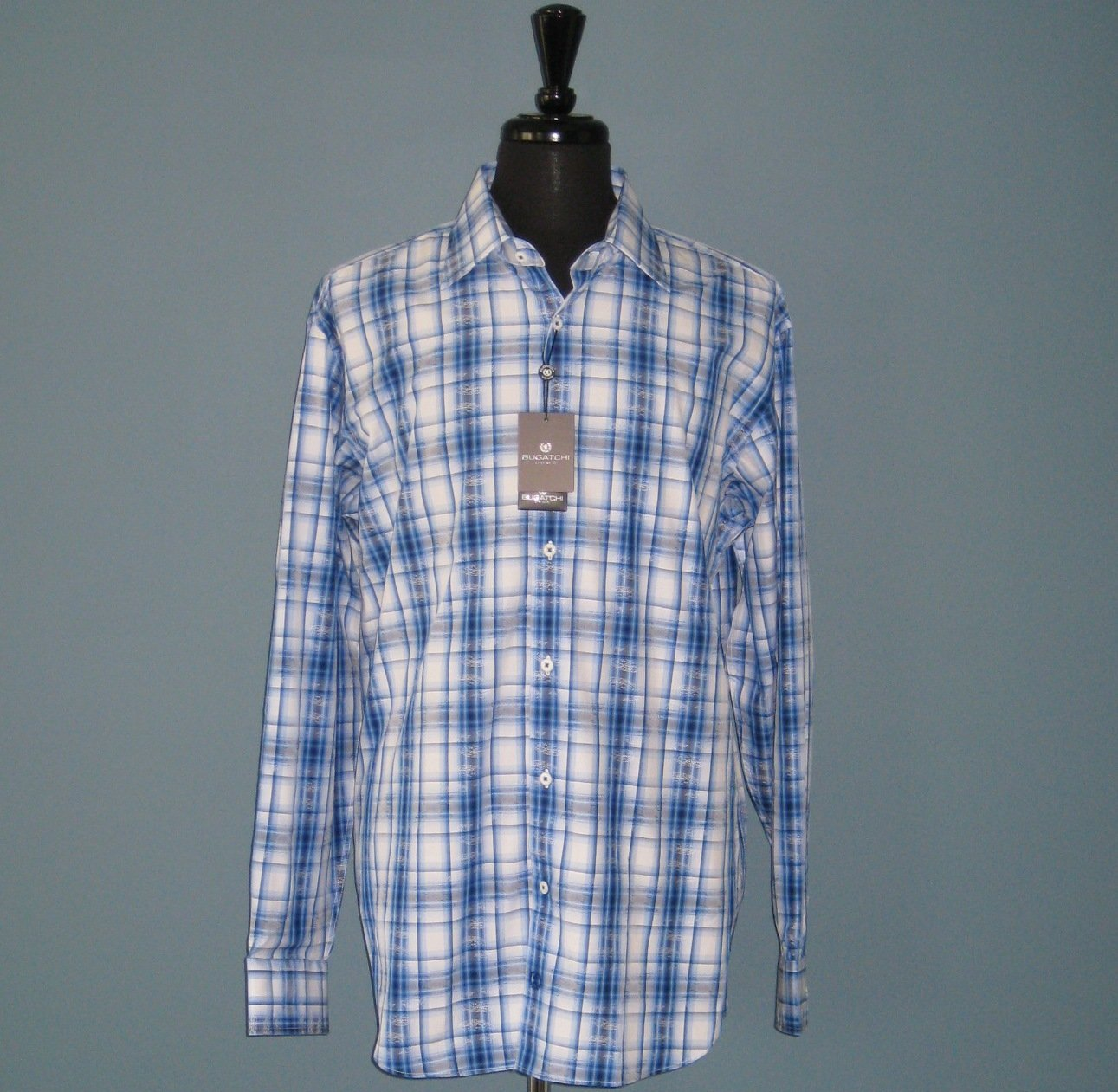 NWT Bugatchi Uomo L/S Blue Plaid & Paisley Print 100% Cotton Shirt - XL