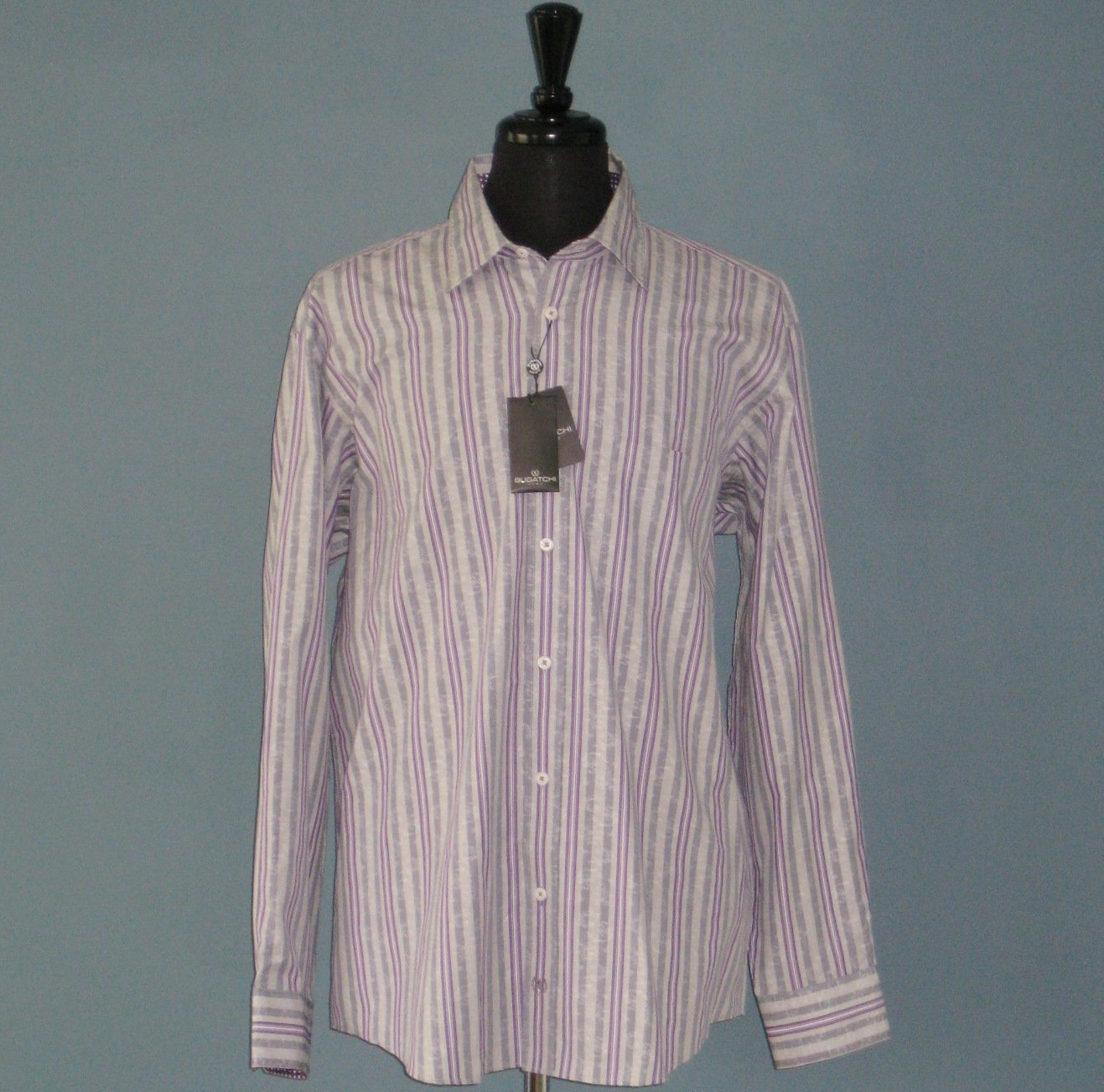 NWT Bugatchi Uomo Violet Striped 100% Cotton Long Sleeve Shirt - XL