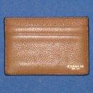 NWT Coach Crosby Beige Tan Textured Leather Slim Card Case #F74322