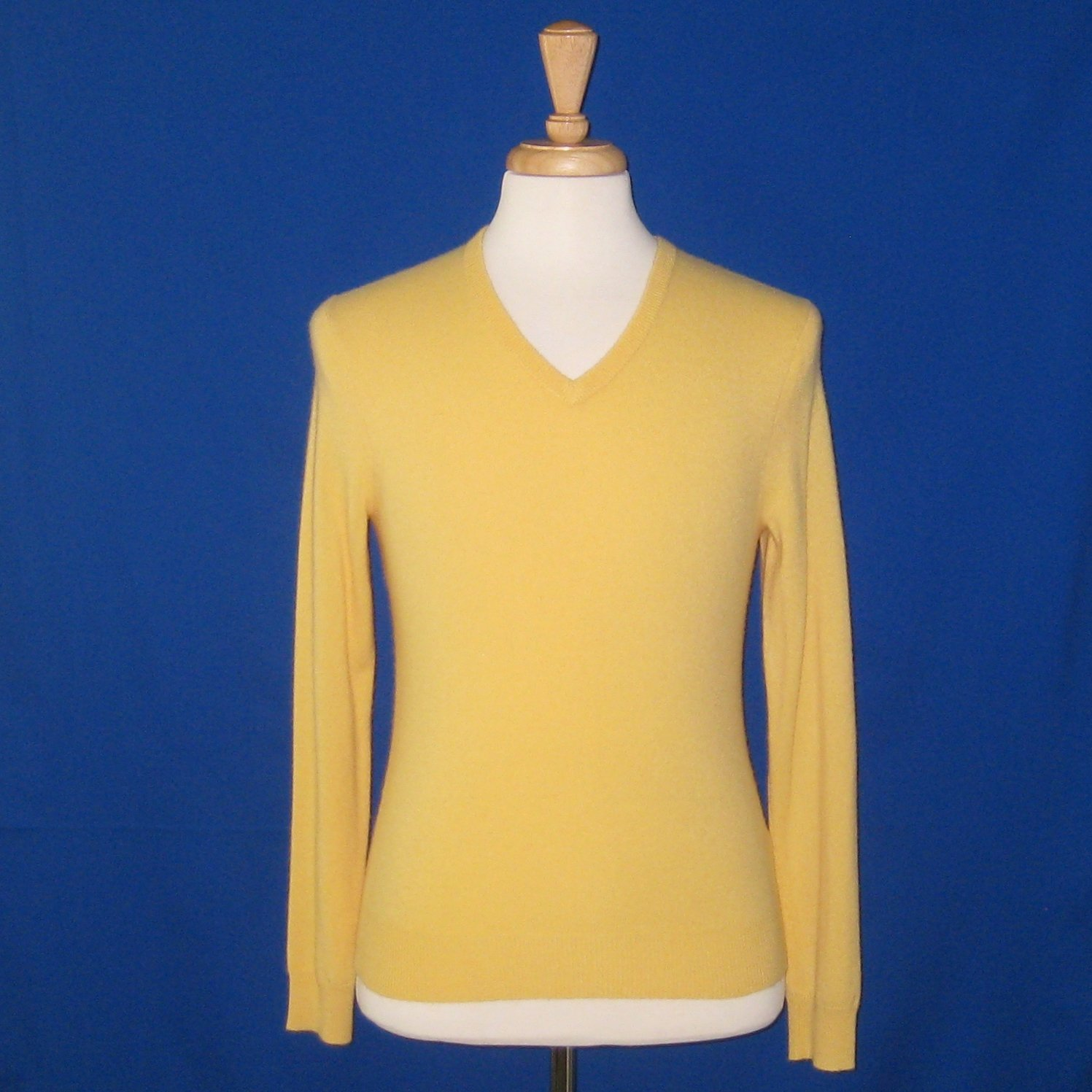 NWT Polo Ralph Lauren Men's Yellow 100% Cashmere Knit L/S V-Neck Sweater - S
