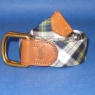 NWT Polo Ralph Lauren Navy Madras Plaid Double D Ring Belt - S