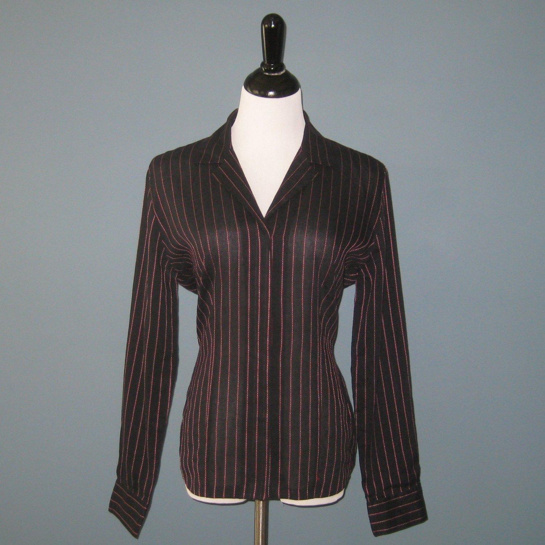 Pre-Owned Ellen Tracy Black w/Red Stripes Linen Cotton Silk L/S Shirt Blouse - 10