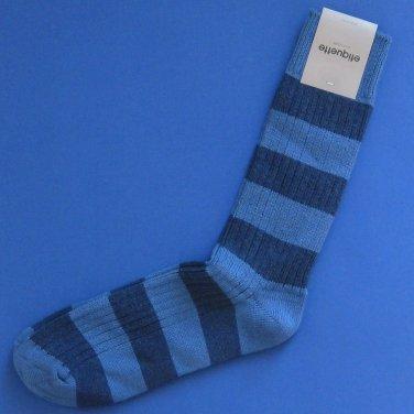 NWT Etiquette Clothiers Men's Royal Blue & Indigo Preppy Stripe Cotton Socks