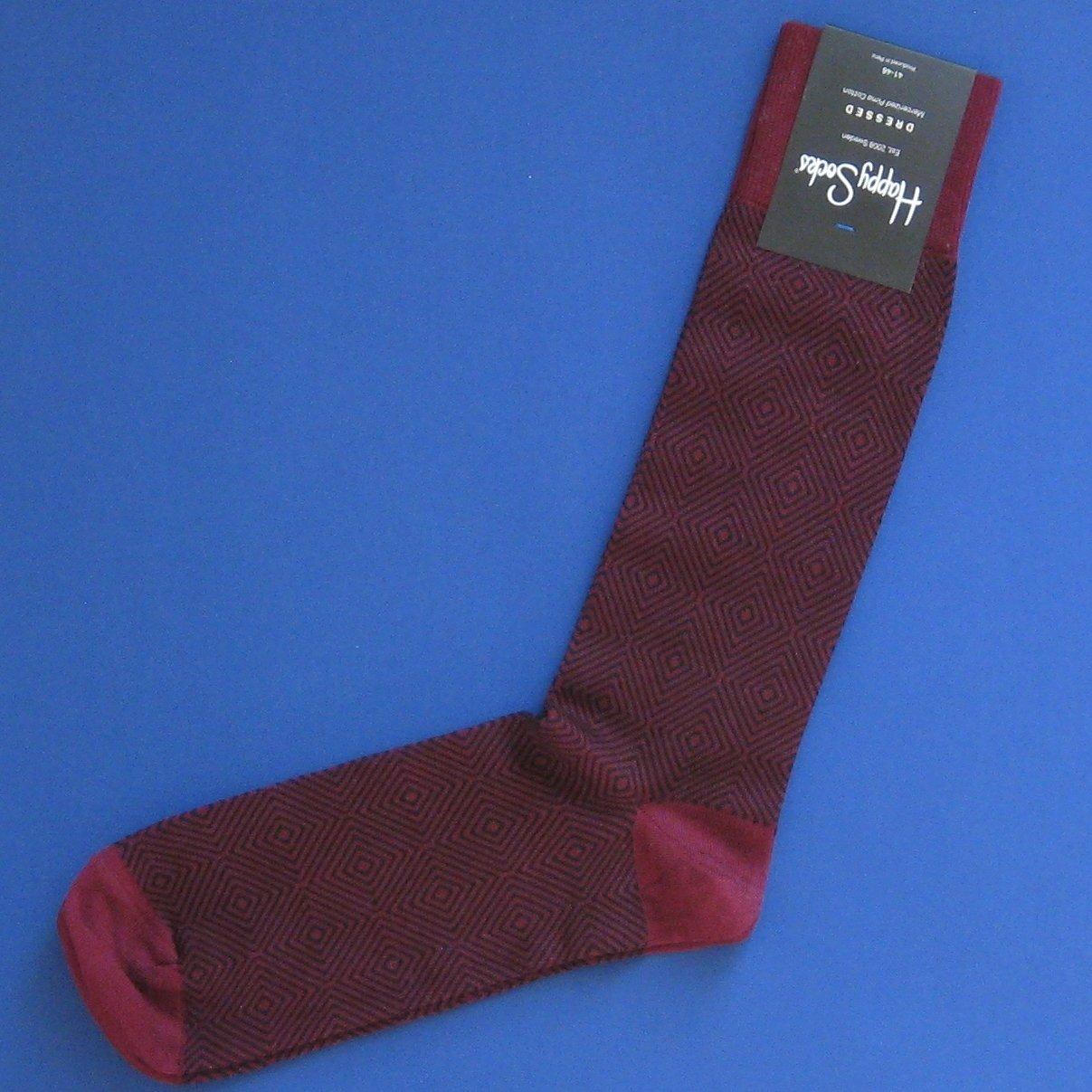 NWT Happy Socks Dressed Burgundy & Black Goose Eye Trouser Dress Socks