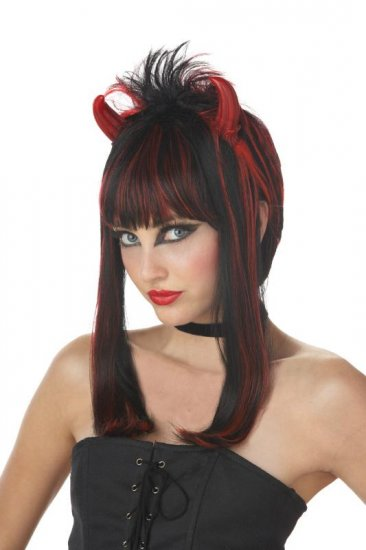 Women Dark Devil Girl Evil Goth Halloween Costume Wig