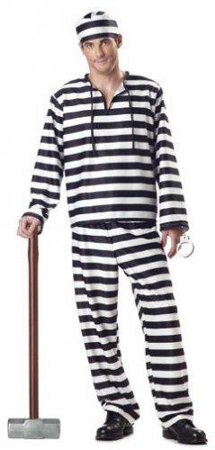 Jailbird Convict Prisoner Adult Costume Size:  Medium #00801