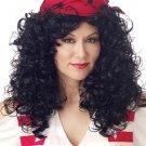 Womens Bandanna BLACK Curly Hair Pirate Costume Wig