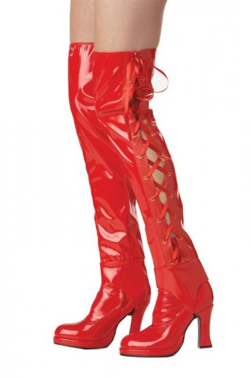 Red Deluxe Lace Up Pirate Boot Cover  #60428