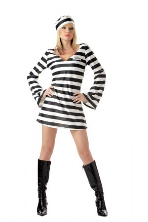 Convict Chick Prison  Adult Costume Size: Small