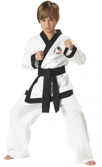 SMALL -Child Martial Arts Karate Warrior Black Belt Costume