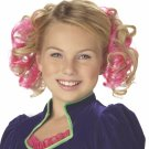 #70607 Alice In Wonderland Pink Curly Clips Hair Costume  Accessory Wig
