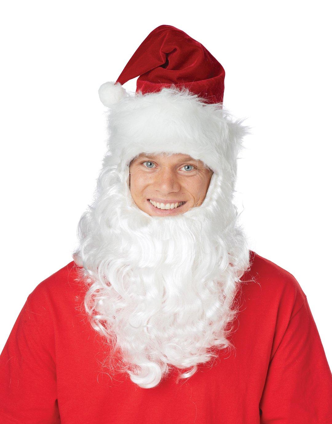 Santa Claus Get Up Saint Nicholas Adult Costume Beard & Hat #60660