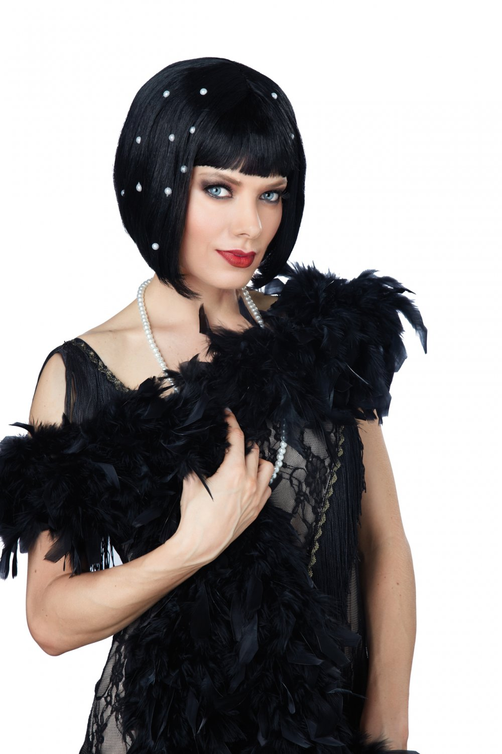 1920's Fashion Flapper Pearlescent Wig (Black) #70829