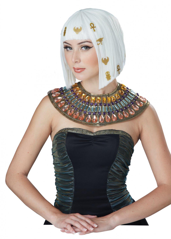 Cleopatra Hair-O-Glyphics Egyptian Wig (White/Gold) #70822