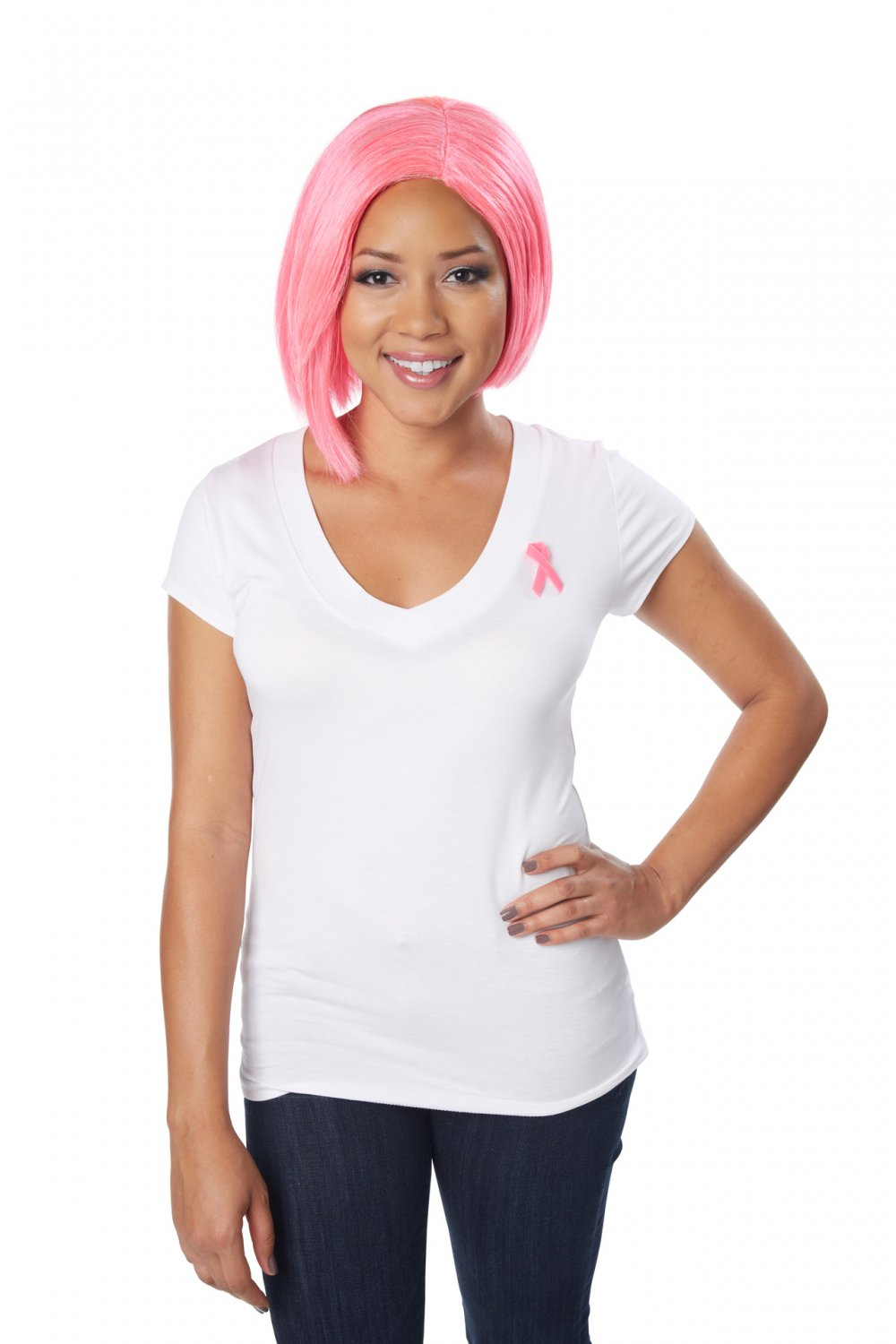 Fight Against Cancer Pink Bob Wig #70838