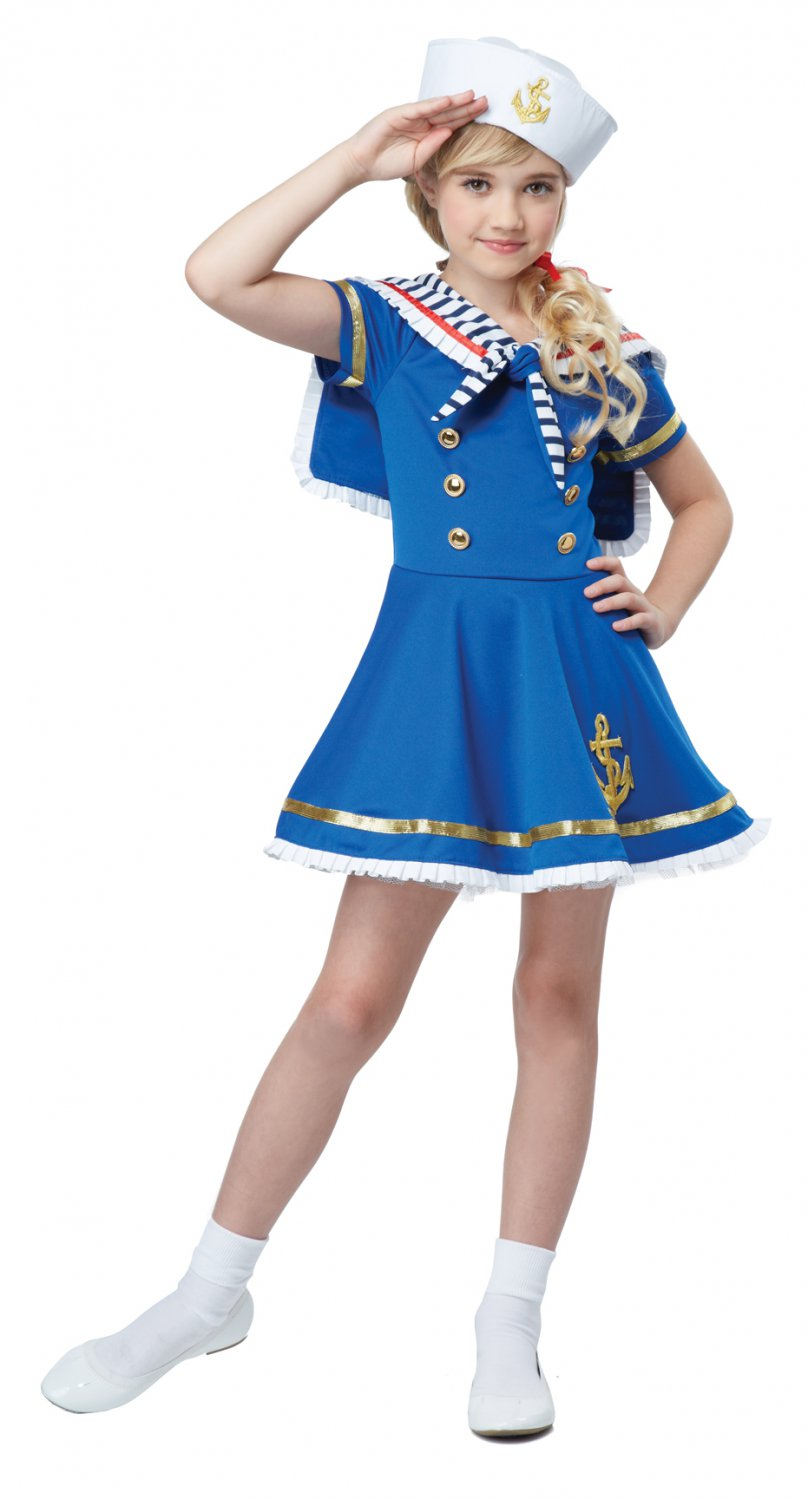 Nautical Sunny Sailor Girl Navy Military Child Costume Size: Large #00369