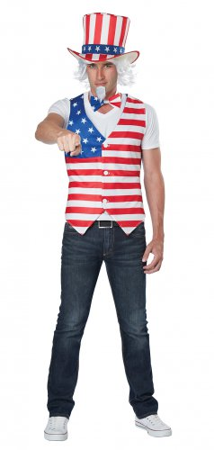 Size: Small/Medium #60689 Military Uncle Sam USA Patriot Man Adult Costume