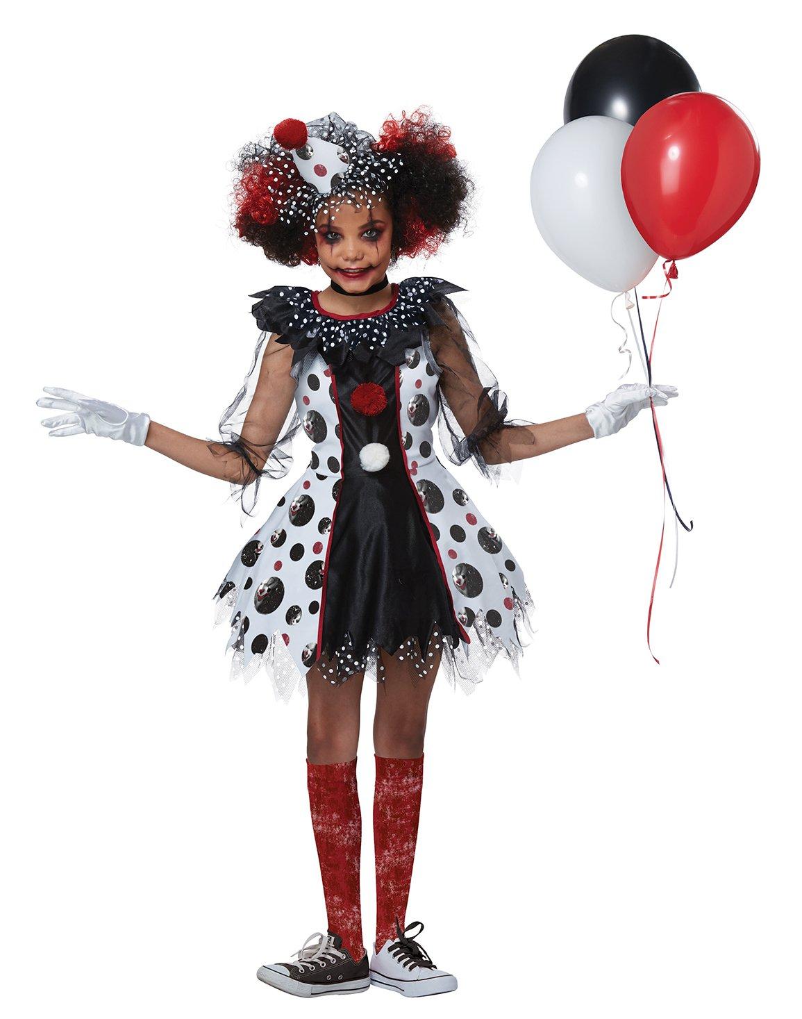 Size: X-Large #00586 Harley Quinn Gothic Creepy Clown Girl Child Costume