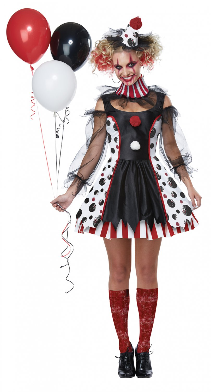 Size: Medium  #01435 Circus Gothic Doll Twisted Clown Adult Costume