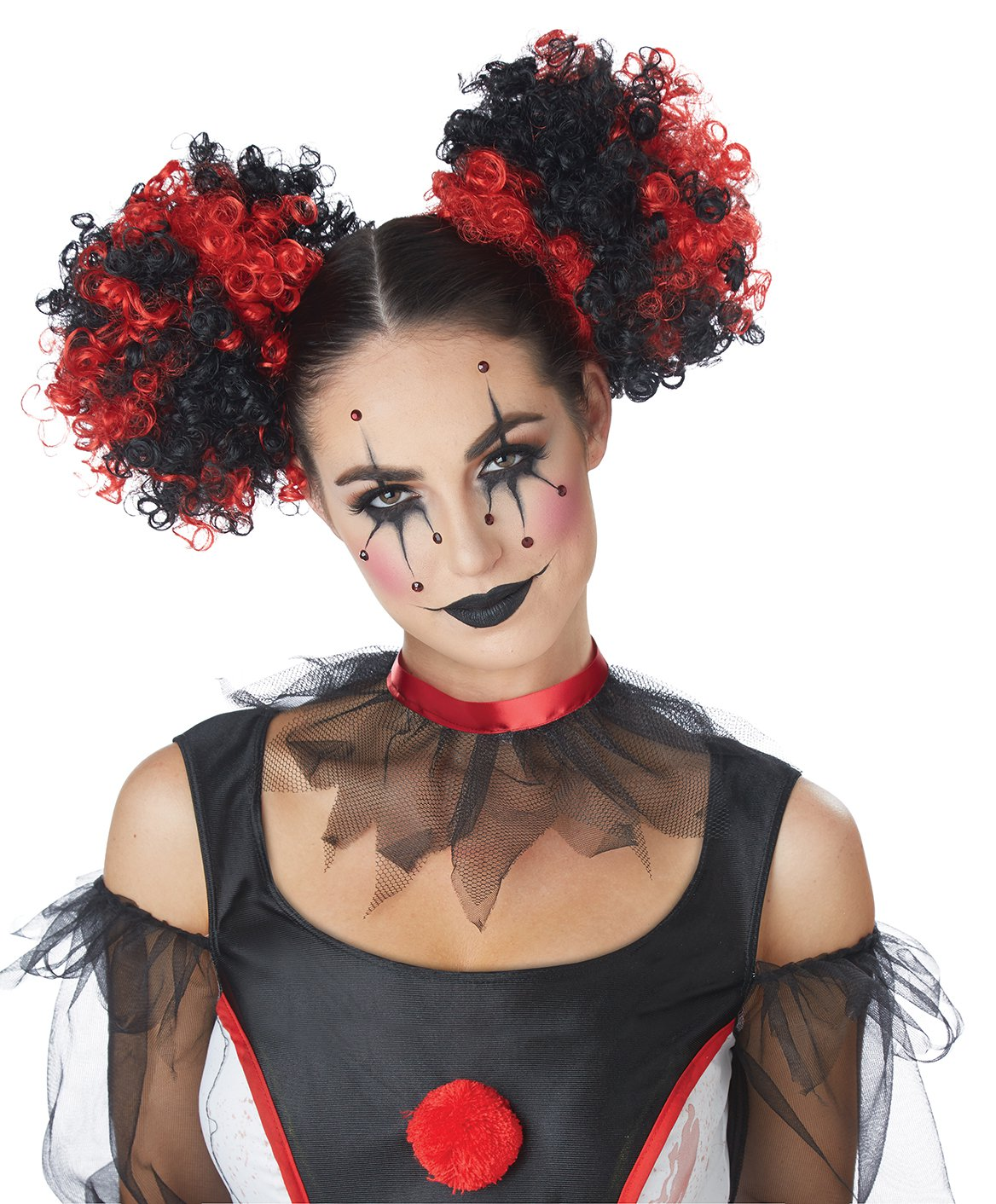 #70887 Dark Gothic Circus Clown Puffs Child Wig