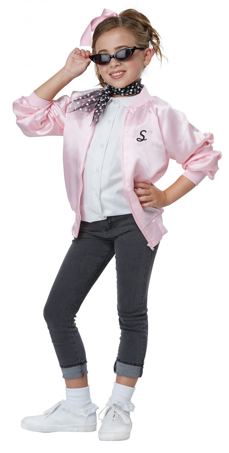 Size: Large #00617 Sexy 50's Satin Varsity Jacket Sandy Grease Child Costume