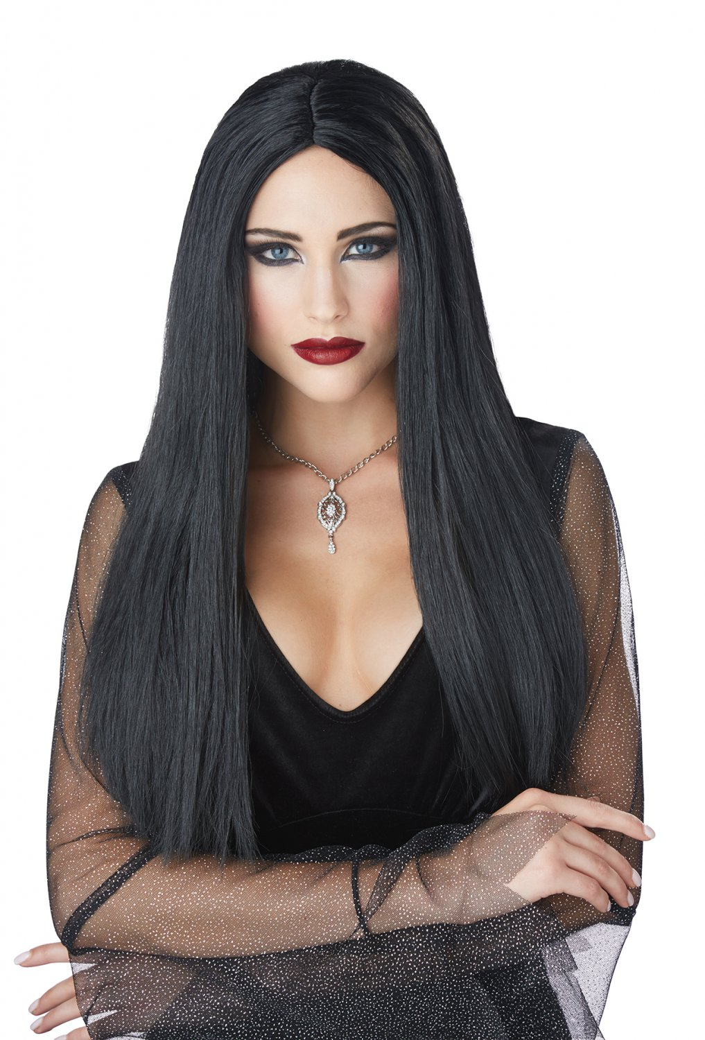 #70893 Sexy Demon Gothic Matriarch Witch Black Costume Accessory Wig