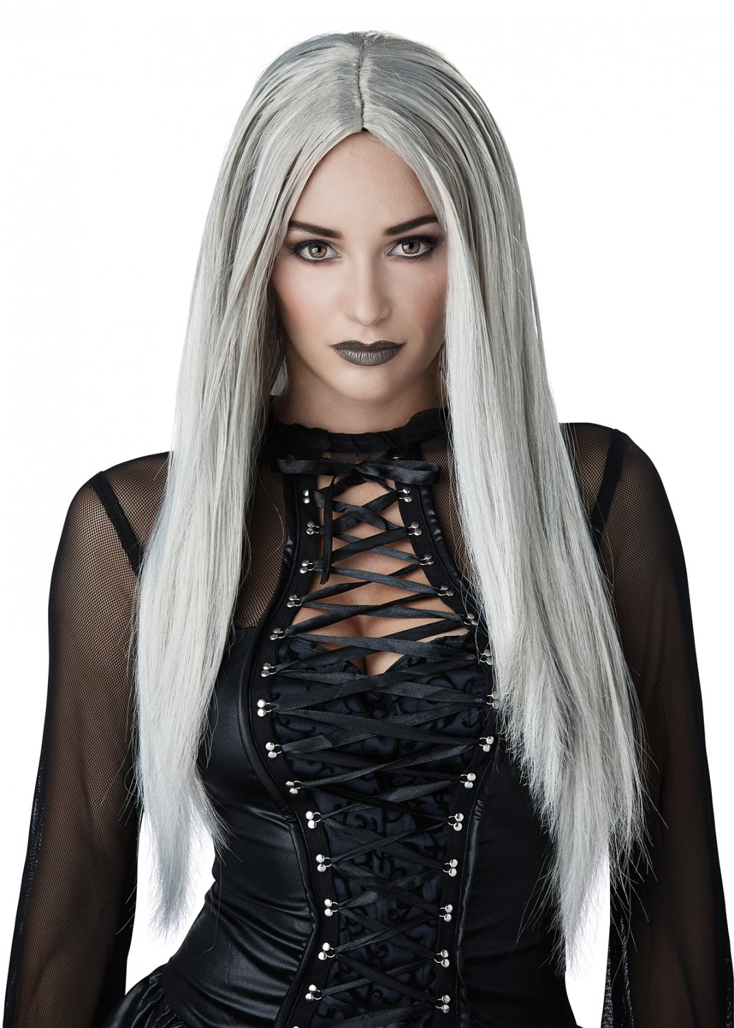 #70879 Sexy Demon Spirit Gothic Matriarch Witch Gray Costume Accessory Wig