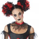 #70887  Jester Cosplay Clown Puffs Red/Black Costume Accessory Wig