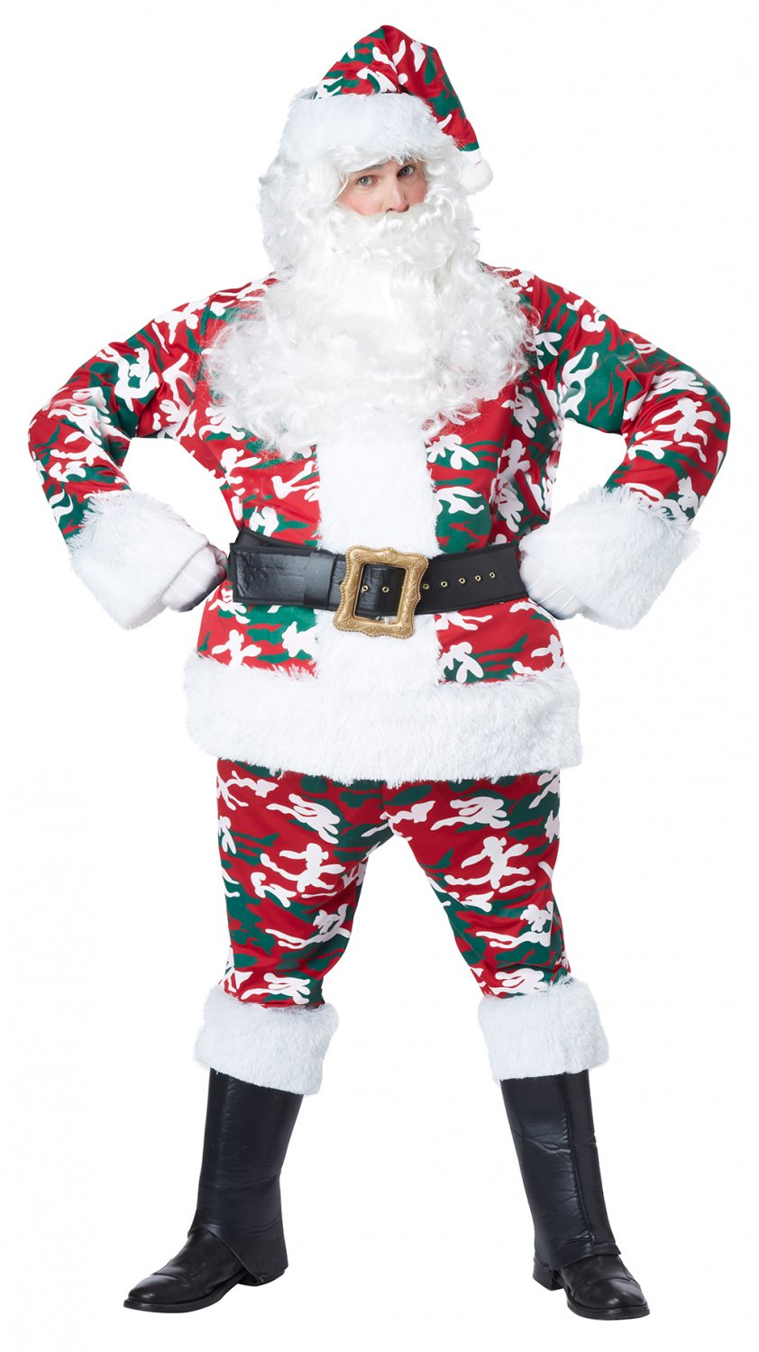Size: Large/X-Large #01403 Christmas Military Camo Santa Claus Deluxe Suit  Adult Costume