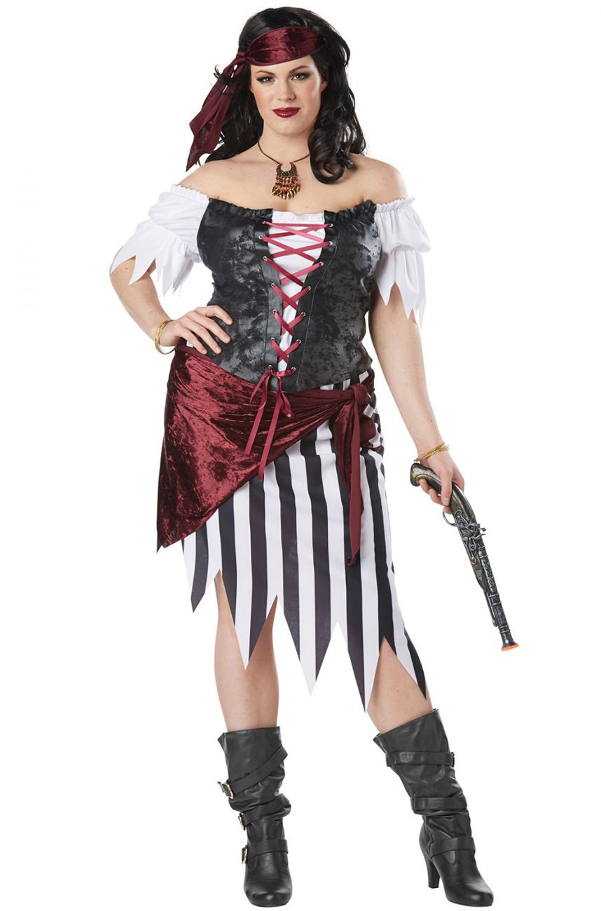 Plus Size: 1X-Large  #01779  Swashbuckler Pirate Beauty Buccaneers Raider Adult Costume