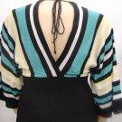 Heart N Soul BLACK/TEAL Kimono Knit Sweater- Medium
