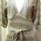 BELTED NEW SWEATER LUREX DRESS- BROWN STRIPE/GOLD MIX- MEDIUM