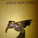 Jone New York GOLD tone Hummingbird Pin/brooch
