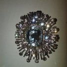 Retro inspired CHUNKY Sparkling Crystal Clear Glass Rhinestone brooch/pin