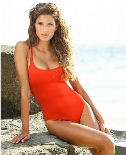 $78 ANNE COLE Signature Women's Red Solid Swimsuit Rose Swimwear Designer Sale
