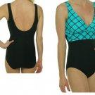 Tropical Honey Slimming Swimsuit Multi Black/ Aqua-size 8
