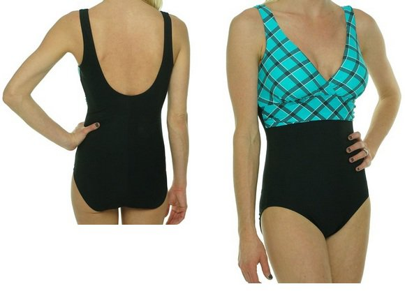 Tropical Honey Slimming Swimsuit Multi Black/ Aqua-size 12