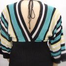 $36 Black n Teal Kimono V-Neck Sweater-XL