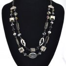 $28 new Charter Club Black /Crystal 2 Row Frontal beaded bib Necklace ADJUSTABLE