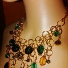 Gold-Tone  Green Shaky Crystal Teardrops Statement Necklace
