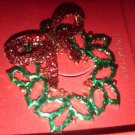 Charter Club Brooch, Gold-Tone Green and Red Wreath Pin-in Gift Box/ holiday