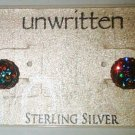 $45 Sterling Silver Shamballa, Multicolor Stud Earrings-8MM