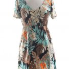 New Coco Bianco Swimsuit Cover up V-Neck Tropical  Dress- Large