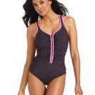 $116 REEBOK ZIPPER ZIG ZAG  SWIMSUIT SPORT ONE PIECE BLACK SZ 8, CONTROL