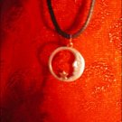 SILVER-TONED CRESECENT MOON & STAR OPEN CHARM ON CORD