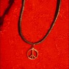 SILVER-TONED PEACE SIGN CHARM ON CORD
