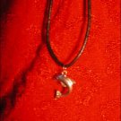 SILVER-TONED DOLPHIN CHARM ON CORD