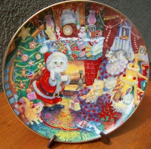 """Franklin Mint Plate """"Not a Creature Was Purring"""" by Bill Bell"""